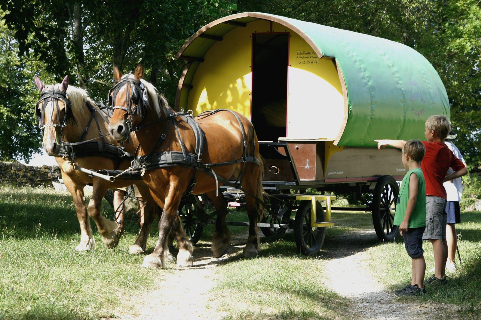Roulotte et chevaux dans la Drôme